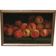 James Everett Stuart, California Salway Peaches, still life, oil on metal