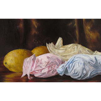 S.W. Owens, vintage oil of paper wrapped fruit