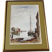 Ted Kautzky, original watercolor, harbor scene