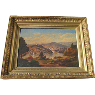 Hudson River oil c 1850 titled A CATSKILL SCENE well done