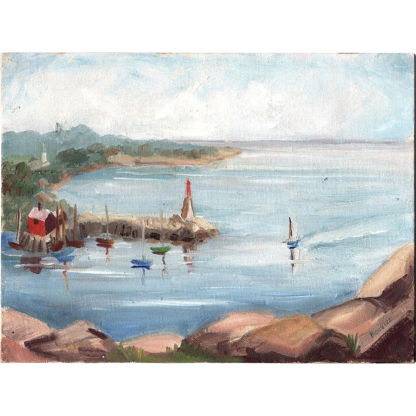ROCKPORT HARBOR 1961 oil on board signed BOUVIER
