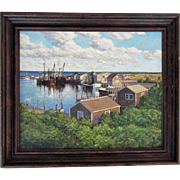 MARTHA'S VINEYARD oil canvas Menmesha Harbor LISTED painter ~ John Philip HAGEN ~  must see !!