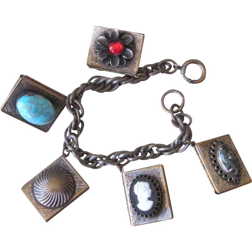 Unique Vintage Locket Charm Bracelet