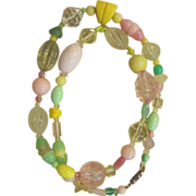 LES BERNARD-  signed unique pastel runway necklace