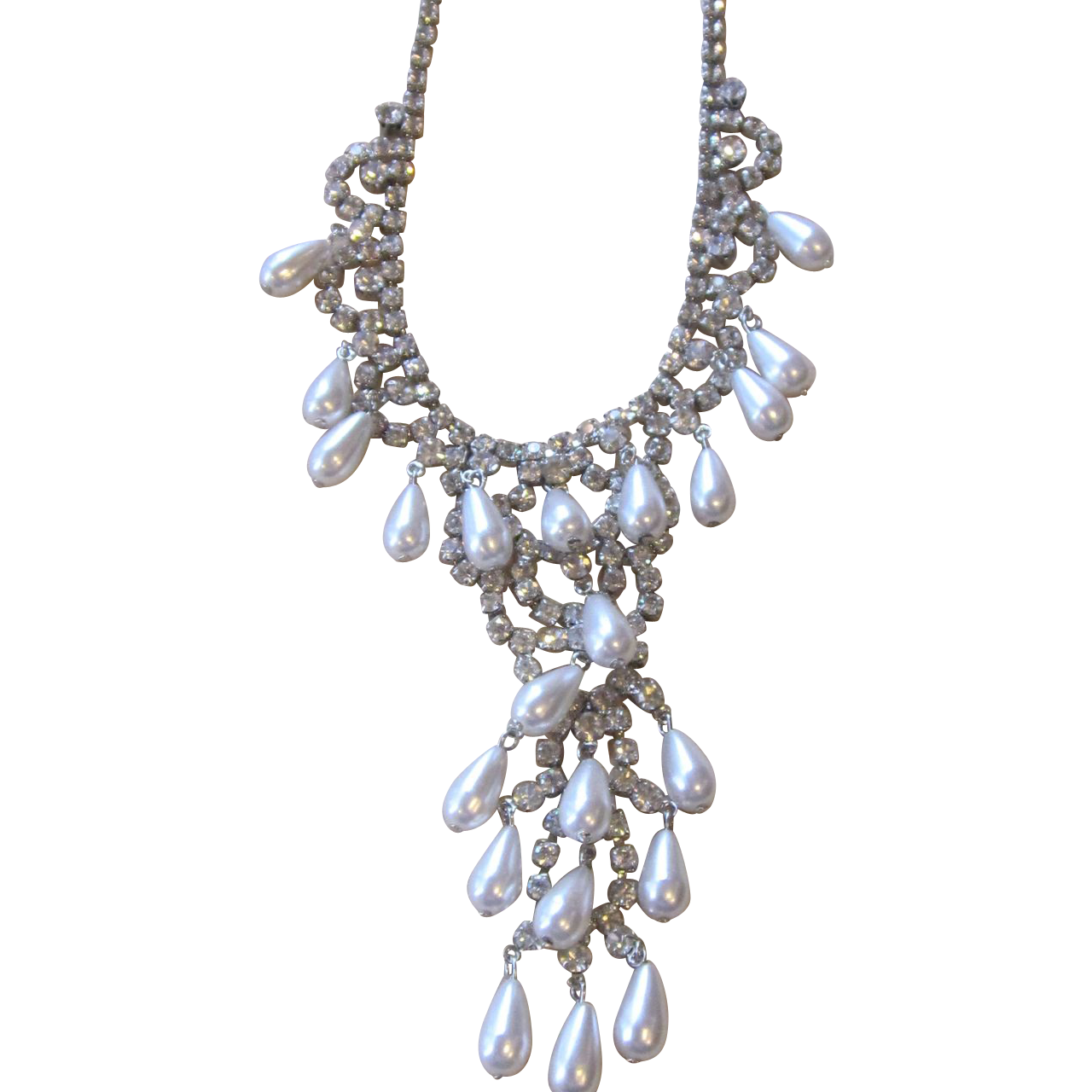 Draping Vintage Rhinestone and Faux Pear Necklace