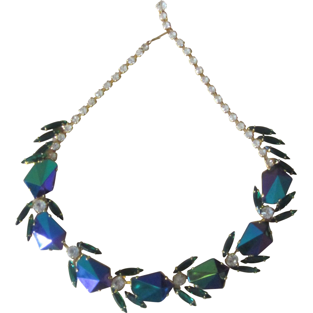 Designer necklace with kite shaped iridescent  rhinestones