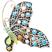 Adorable Enamel Vintage Butterfly Pin