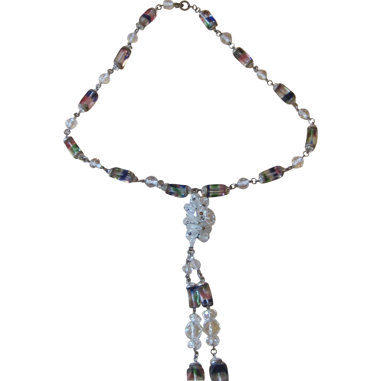 Unusual Vintage Rainbow Glass and Crystal Bead Necklace