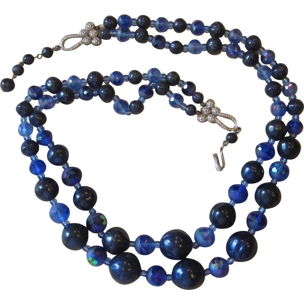 SCHIAPARELLI- Signed Vintage Necklace in Beautiful Blues