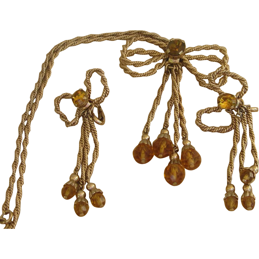 NAPIER- early signed unusual necklace and earrings