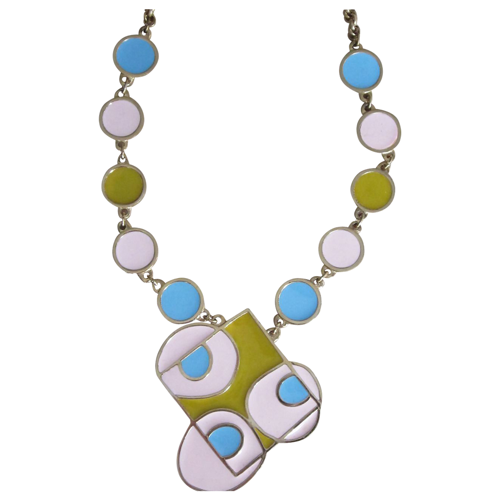 ACCESSOCRAFT- Rare op- art pastel runway necklace