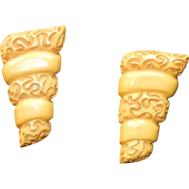 Vintage Carved Bakelite Dress Clips