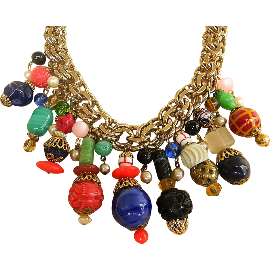 Signed Monet Lantern bead necklace