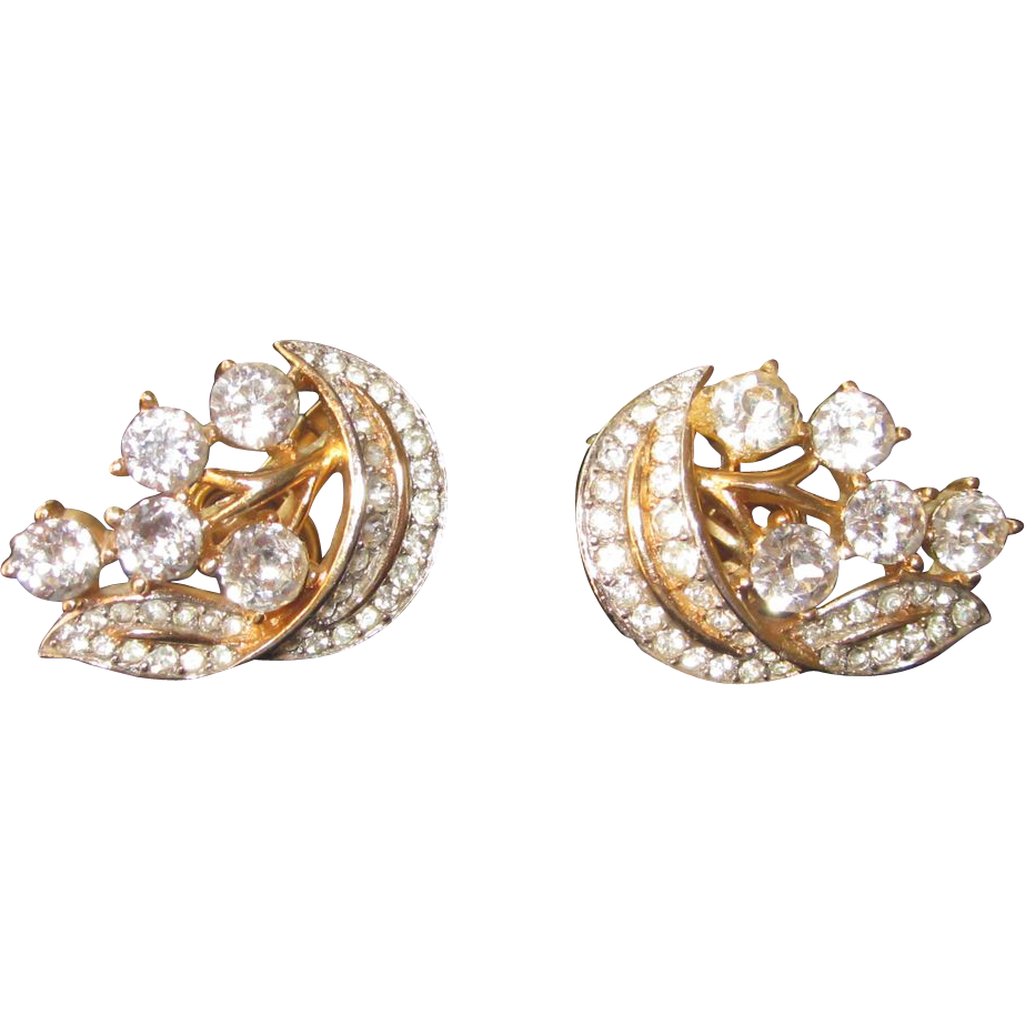 Crown Trifari- Stunning Old Vintage Earrings