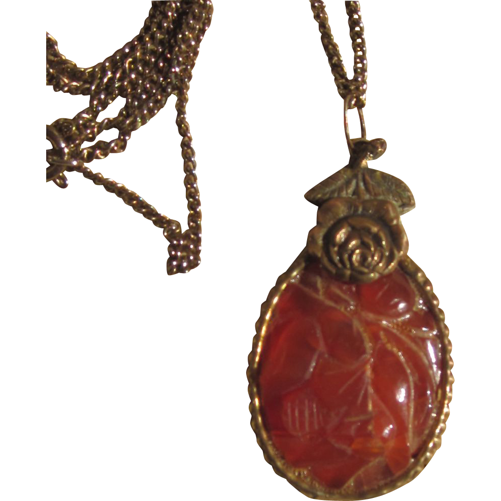 Czech Carved Carnelian Pendant Necklace