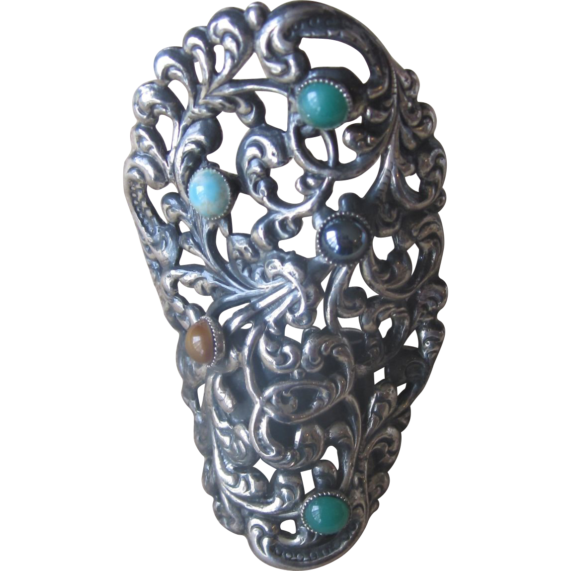 Huge Sterling Ring with semi-precious stones