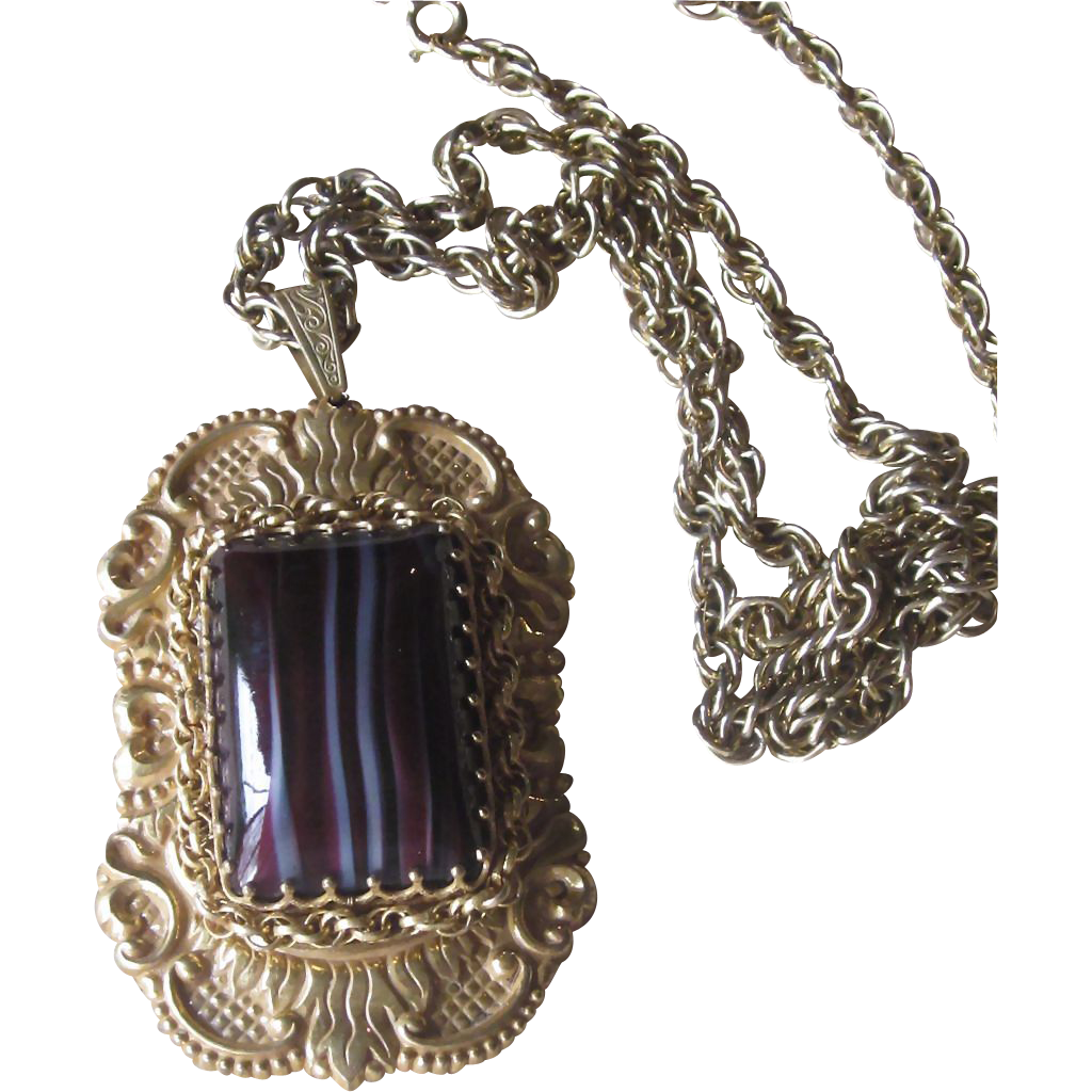Haskell- Huge Pendant Runway Vintage Necklace