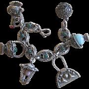 Ornate 800 Silver Etruscan Charm Bracelet