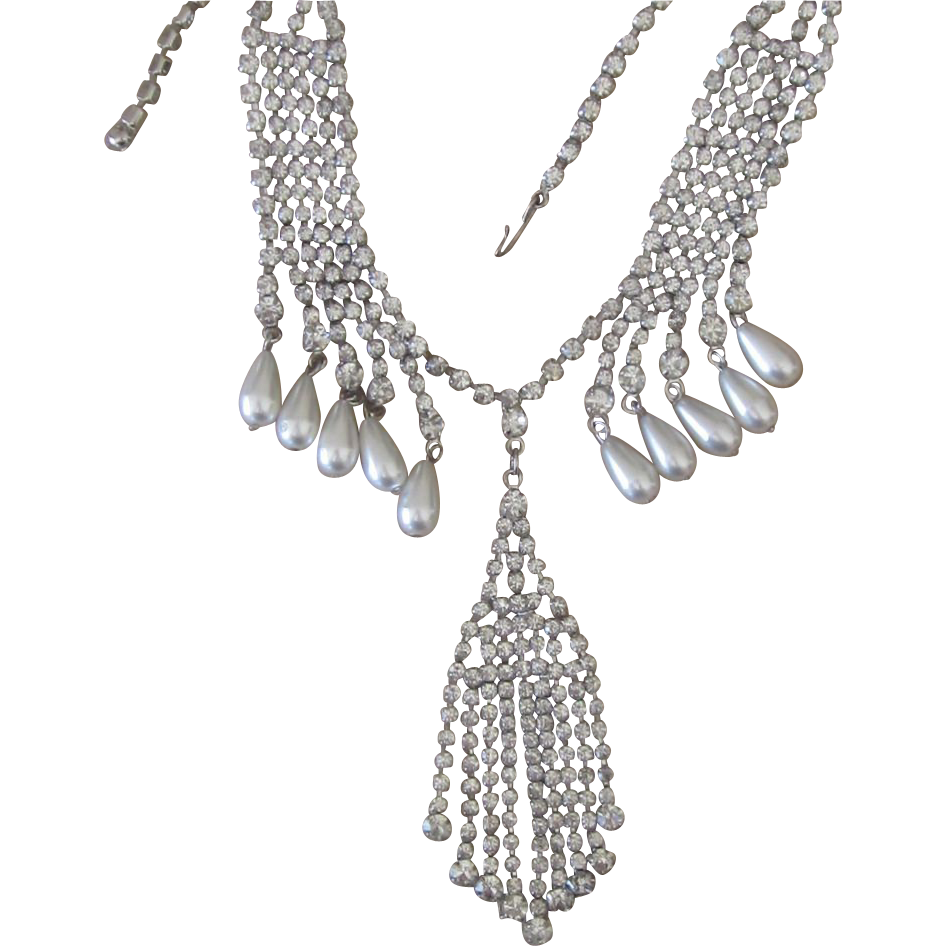 Exceptional Drippy Rhinestone Runway Necklace