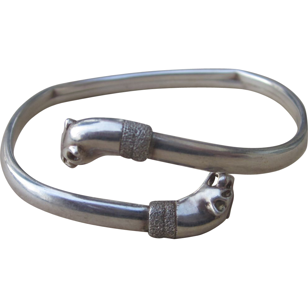 Sterling Vintage Bracelet with Animal Heads