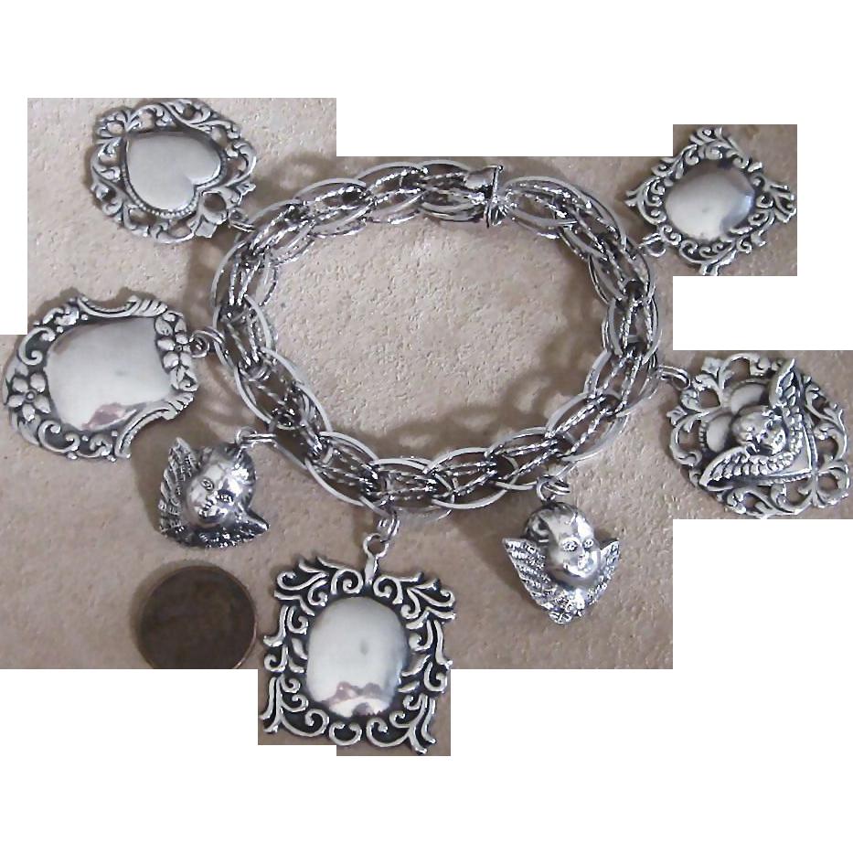 Sterling Love Tokens Vintage Charm Bracelet