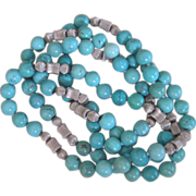 Turquoise Hand Knotted Vintage Necklace
