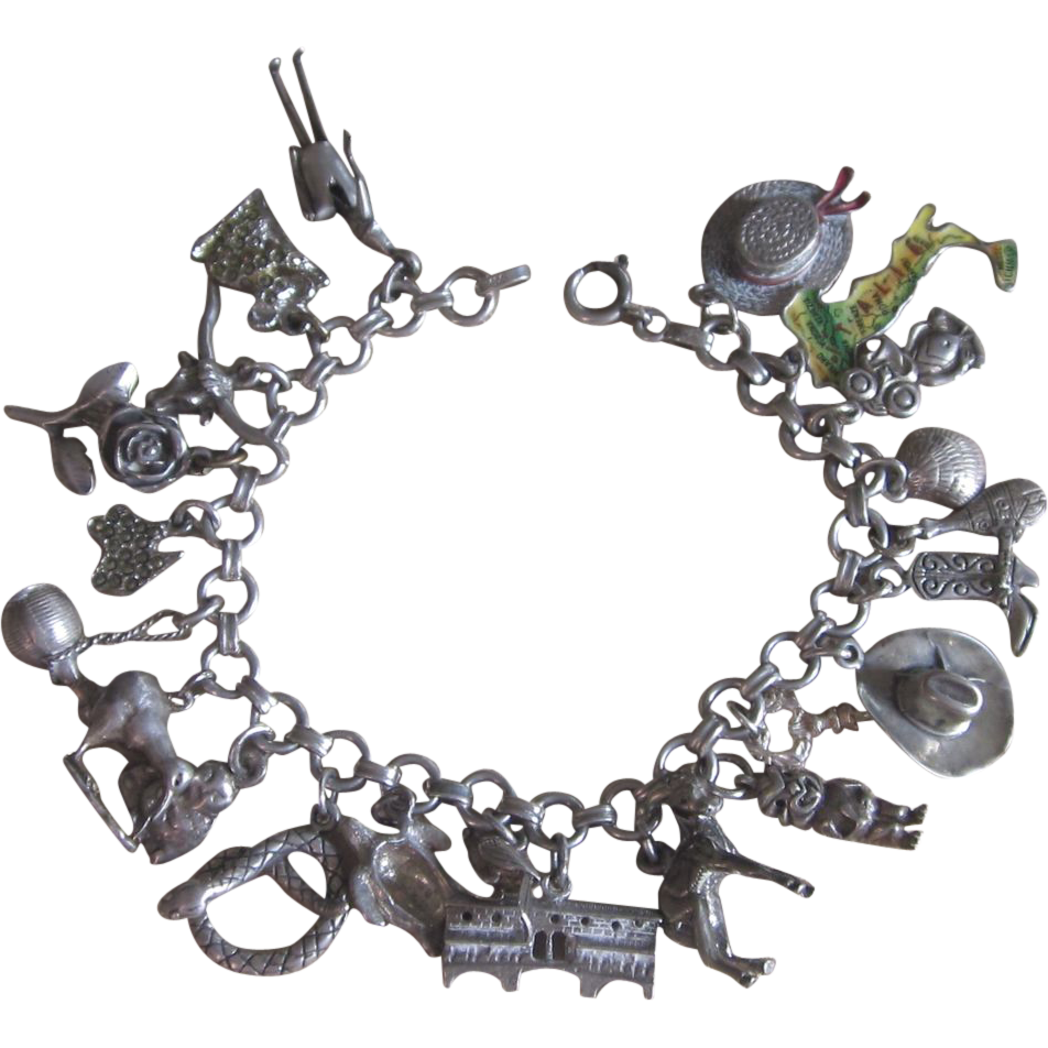 Vintage Charm Bracelet with Sterling and Unusual Charms