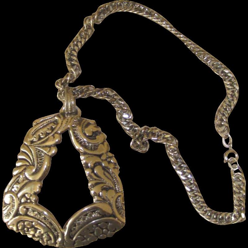 Lucien Piccard - Bold Huge  Vintage Silver Tone  Pendant Necklace