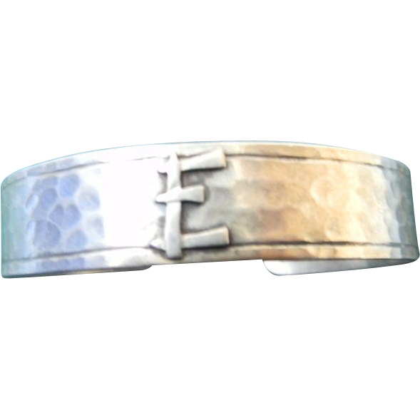 "Vintage Sterling Hammered Signed Bracelet with initial ""E"""