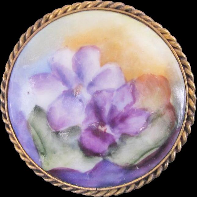 Stunning hand painted porcelain vintage brooch