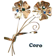 CORO- sterling flower brooch