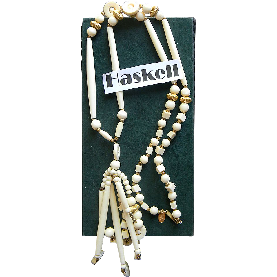 "MIRIAM HASKELL- signed ""bone"" necklace"