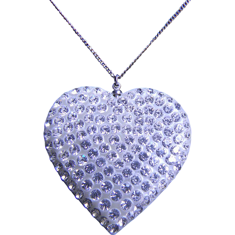 Vintage Celluloid Rhinestone Heart Necklace