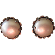Nettie Rosenstein Sterling and Faux Pearl  Vintage Earrings