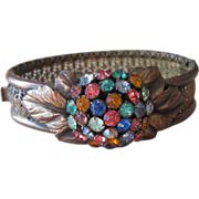 Unusual Rhinestone and Brass Vintage Bangle Bracelet