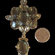 Schreiner- Huge Vintage  Brooch or Pendant Smoky Grey