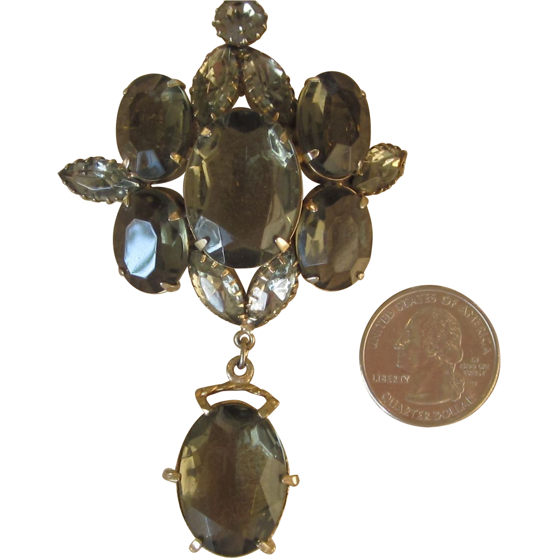 Schreiner- Huge Vintage  Brooch or Pendant Smoky Grey