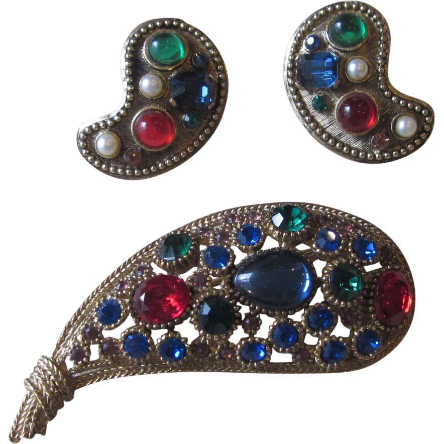 Nina Ricci  Paris Vintage Brooch and Earrings