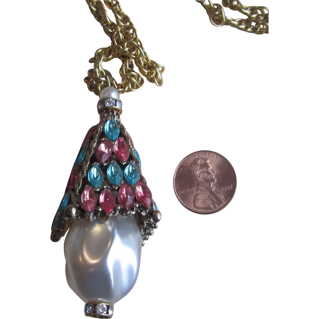 Huge Rhinestone and Faux Pearl  Vintage Pendant Necklace