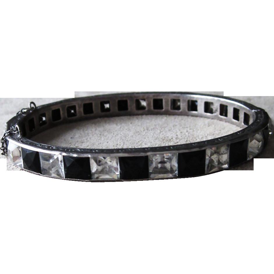 Sterling Deco Channel Set Bangle Bracelet