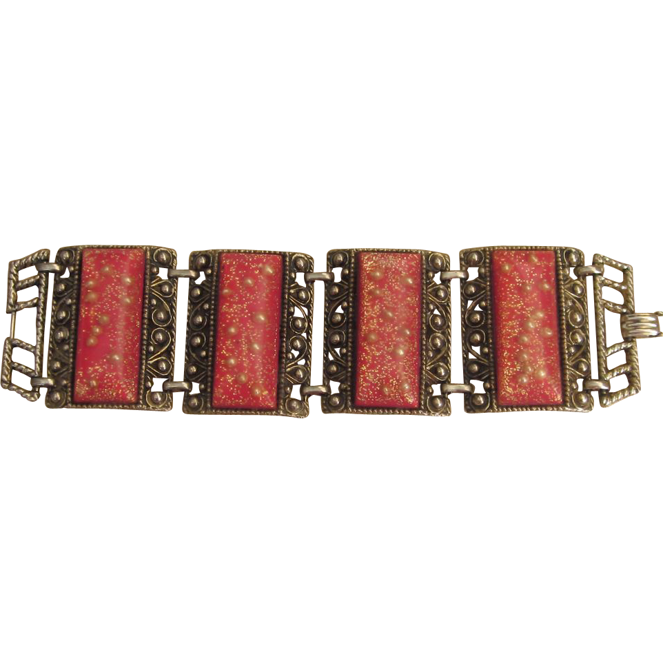 Wide Red Confetti Vintage Bracelet