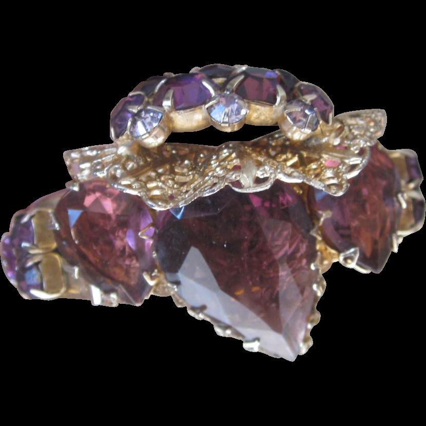Monumental Purple Designer Runway Bracelet