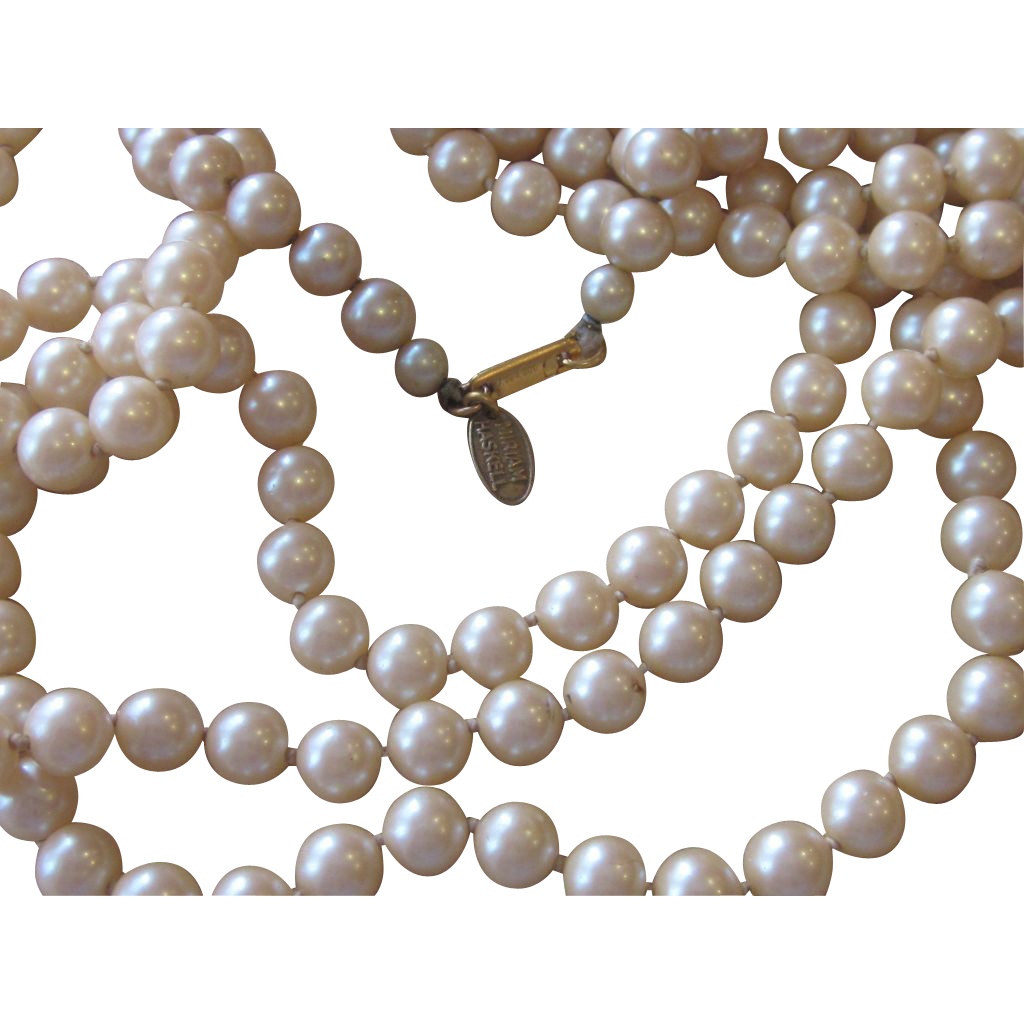 Miriam Haskell - 88 Inch Faux Pearl Sautoir Opera Necklace