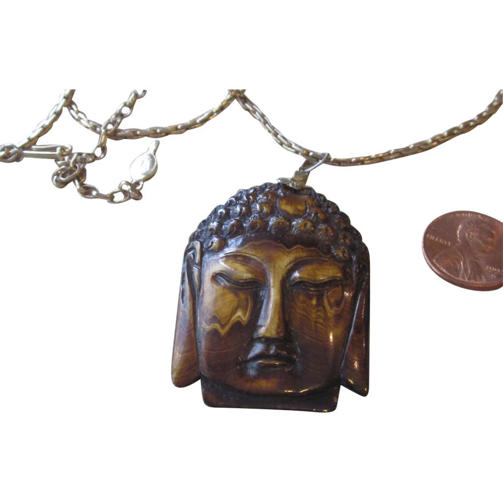 Vintage Unique Carved Pendant Necklace