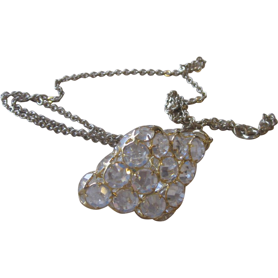 Large Crystal Vintage Pendant Necklace