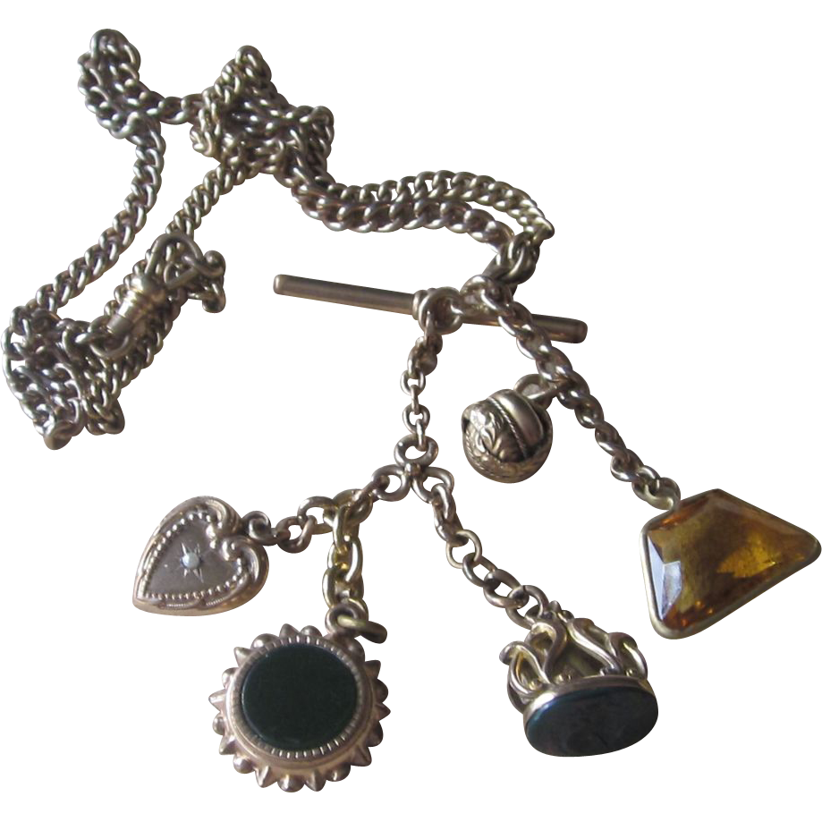 Extraordinary Victorian Fob Charm Locket  Necklace