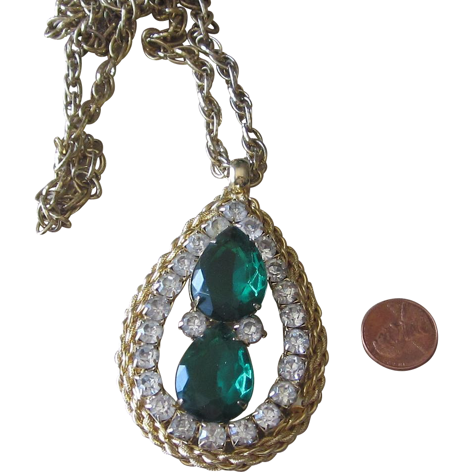 Bold Teardrop Huge Rhinestone Vintage Pendant Necklace