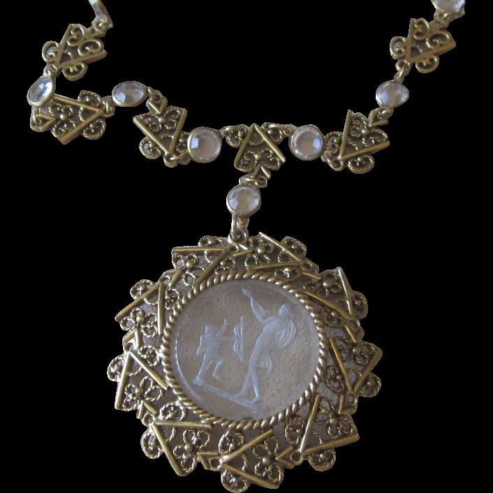 Unsigned Goldette- Vintage Cupid Necklace