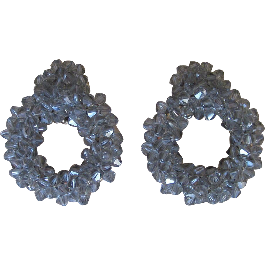 Rare and Unusual Clip Grey Crystal Vintage Large  Earrings