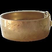 Vintage Wide Gold Toned Hinged Bangle Bracelet